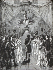 "A ceremony of the new Republican Religion of Reason in Notre Dame, Paris, 1793. The effort to destroy the institutions of the Old Regime and create new, rationale, and just replacements was carried into the world of religion and the Church. The Civil Constitution of the Clergy (July 1790) reorganized the Church, introducing such reforms as the election of priests and, more broadly, the subordination of the Church to the Revolutionary Government. During the Convention the attack on the Church went further into de-Christianization. Churches were renamed temples of reason—or de-sanctified—and a new religion of reason was introduced by the Convention.  This ""civil religion"" was based on the belief in a Supreme Being and secular ethics. This print depicts a ceremony in this new civil religion taking place in the famous cathedral of Notre Dame in Paris.  The policy of radical religious change was not popular and sometimes fiercely resisted in small towns and villages."